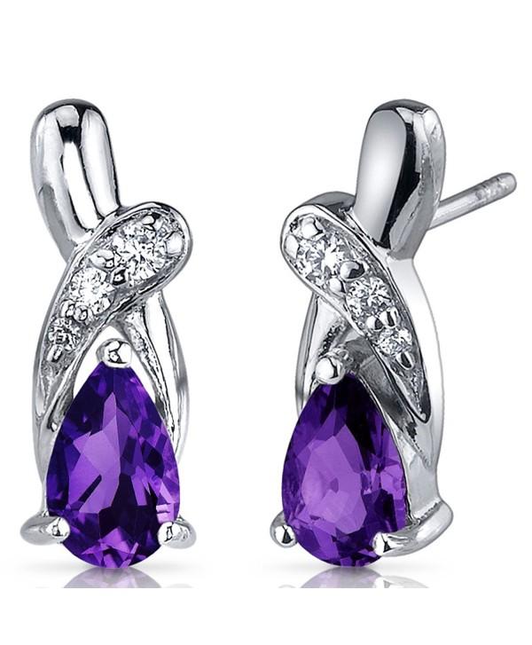 Amethyst Earrings Sterling Silver Tear Drop CZ Accent - C9116NSDV15