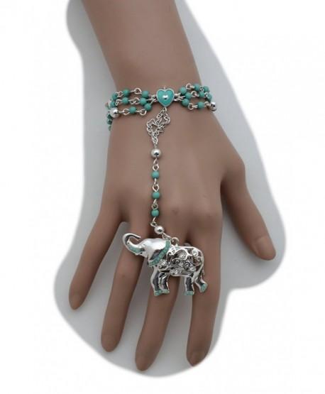 TFJ Women Fashion Jewelry Hand Chain Bracelet Slave Rings Metal Long Fingers Bones Skeleton Skull Black - CW12FCKXYV1