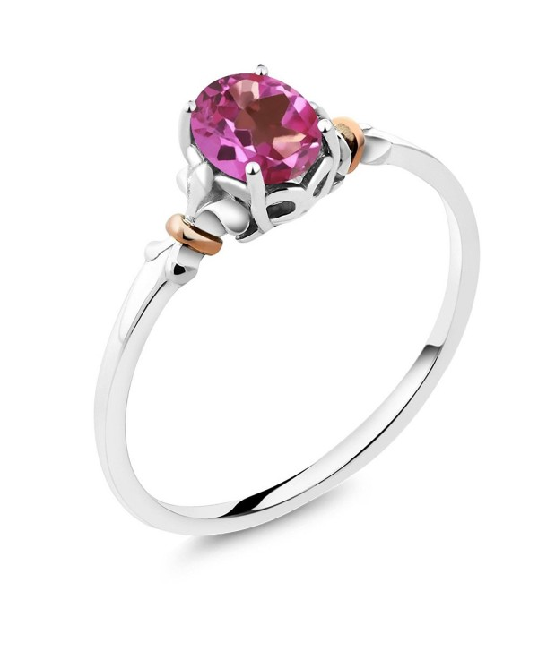 925 Sterling Silver and 10K Rose Gold Ring Oval Pink Mystic Topaz (0.80 cttw- Available in size 5-6-7-8-9) - CQ182T76HX7