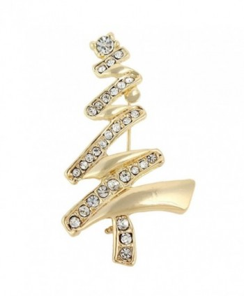 EVER FAITH Austrian Crystal Layers Wishing Tree Brooch Clear - Gold-Tone - CO11Q9O5KYJ