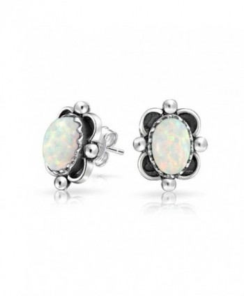Bling Jewelry Bali Style .925 Silver Oval Simulated Opal Stud Earrings 10mm - CP11JO84BUL