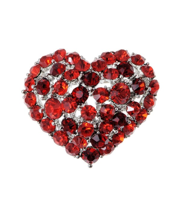Alilang Crystal Rhinestone Valentine Heart Love Brooch Pin - Red - CY119LR4NDF