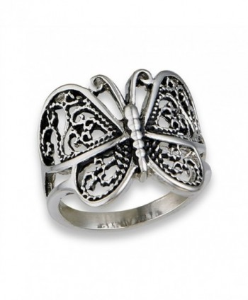Butterfly Heart Filigree Wings Ring New Stainless Steel Animal Band Sizes 6-10 - CN1822DIC00