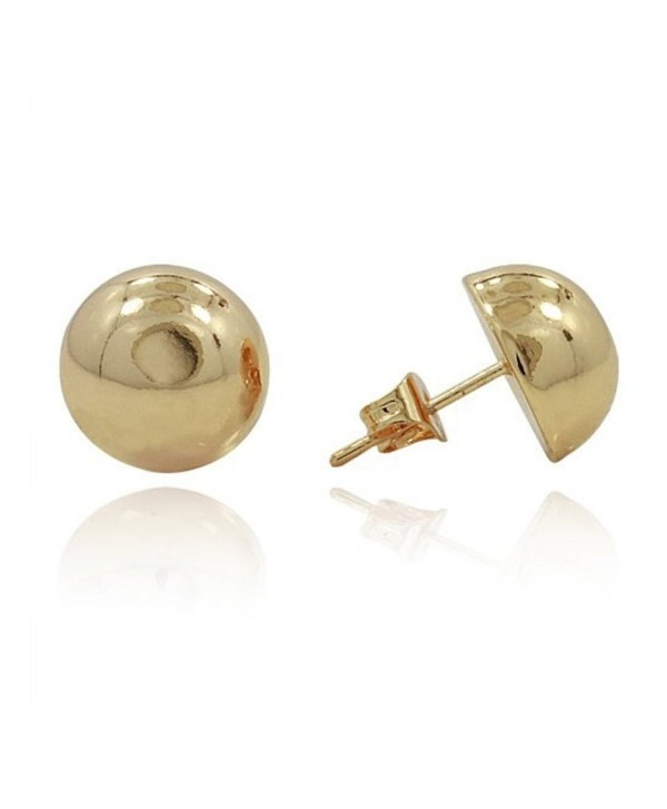 Half Ball Button Moon Stud Post Earring Yellow Plated 925 Sterling Silver - CM12N1LE1GJ