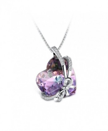 "T400 Jewelers ""Bowtie Knot"" Heart Pendant Necklace Made with Swarovski Crystals - Purple - CS17Z3SNRSW"