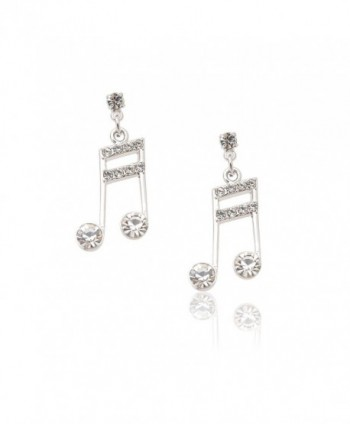 Spinningdaisy Silver Plated Ottava Alta Music Note Earrings - CU1142CN5PB