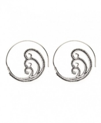 81stgeneration Women's Brass Silver Tone Spiral Swirl Dotwork Tribal Ethnic Earrings - CQ12LJ0CNS3