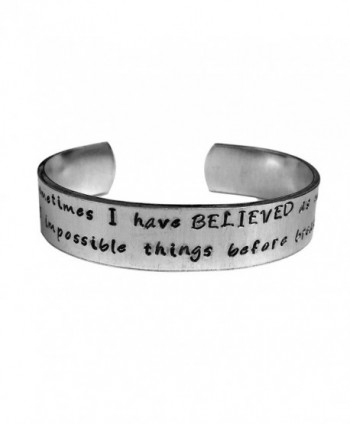 "Alice in Wonderland Cuff Bracelet. Hand stamped . Six impossible things before breakfast. 1/2"" Silver Alu - C112M73Y7T9"