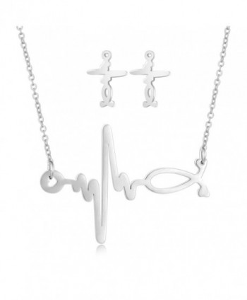 Heart Beat Necklace Stud Earrings Set Stainless-steel Jewelry Set for Women - Steel - C2182HQLTRC