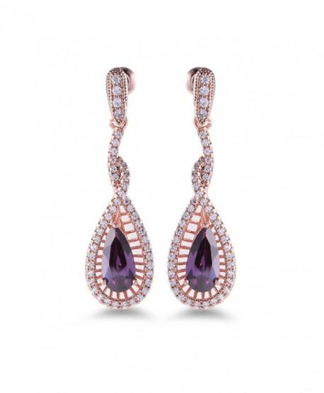 GULICX Rose Gold Tone Pear White Crystal Rhinestone Promise Party Gorgerous Dangle Earring - Purple - CN11YLAZU0V