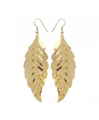 Gold-Tone Leaf Earrings Lightweight Cutout Drop Dangles by Ivette De Pasquali - CK188HEMA6M