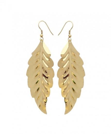 Gold-Tone Leaf Earrings Lightweight Cutout Drop Dangles by Ivette De Pasquali - CK188HEMA6M