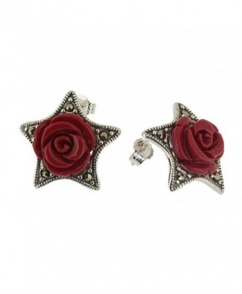 Red Rose Marcasite 925 Sterling Silver Stud Earrings - CZ11ONYVW4J