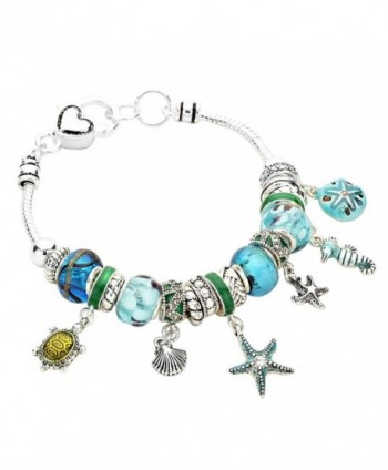 Rosemarie Collections Women's Starfish Seahorse Turtle Glass Bead Beach Charm Bracelet - Blue - CR11YCKG07X