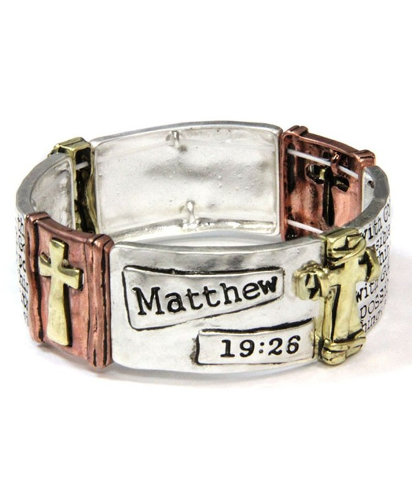 4031491 Matthew 19:26 Stretch Bracelet Cross Christian Scripture Verse With God - CW11LUL4V91