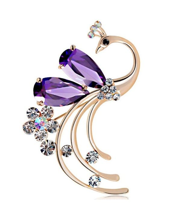 Latigerf Women's Peacock Bird Purple Swarovski Elements Crystal Brooches and Pin Gold Plated for Party - CL11WNSCRZP