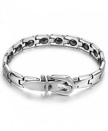 Womens Titanium Magnetic Therapy Link Bracelet With Magnets- Power Balance - C312ED1XJPB