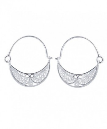 NOVICA .925 Sterling Silver Filigree Endless Hinged Hoop Earrings- 26mm- 'Fiesta' - C8113SWUHFH