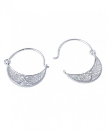 NOVICA Sterling Filigree Endless Earrings in Women's Hoop Earrings