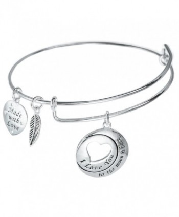 Sterling Silver ''I Love You To The Moon And Back'' Dangle Charm Adjustable Wire Bangle Bracelet - C612G2TD71X