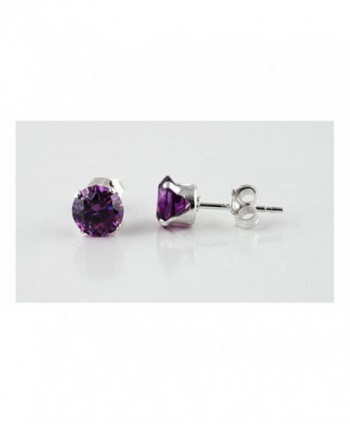 Sterling Silver Purple 2mm Round Cubic Zirconia CZ Stud Earrings - C1115OX4EKH