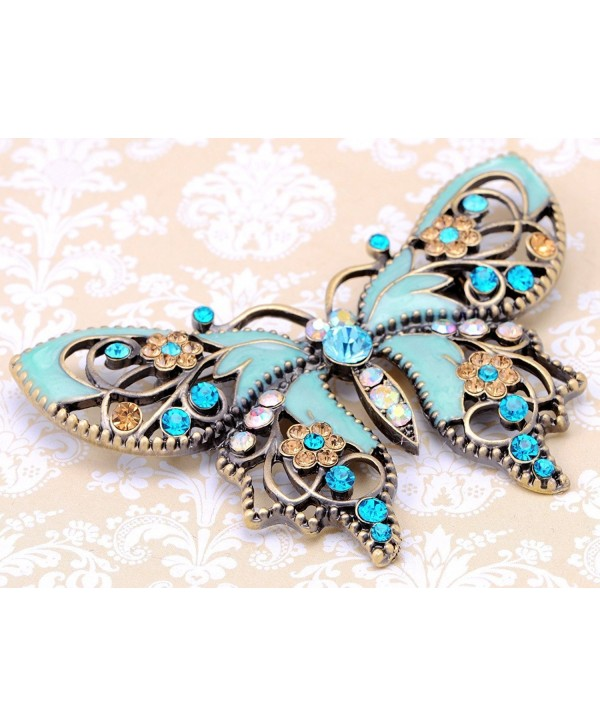 Alilang Antique Golden Aquamarine Blue Colored Rhinestones Butterfly Brooch Pin - CL112TAWU8F