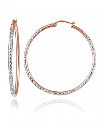Hoops & Loops Rose Gold Flash Sterling Silver Two-Tone 2mm Diamond-Cut Round Hoop Earrings- All Sizes - C612KKGIB7T