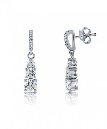 Rhodium Plated Sterling Silver 3-Stone Graduated Dangle Earrings Made with Swarovski Zirconia - CP11MCF6V6P