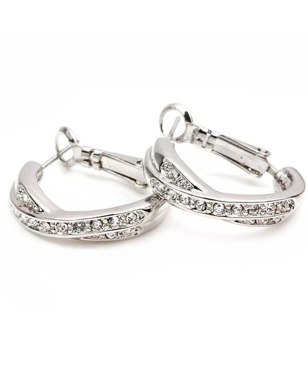 FC White Gold Plated Cubic Zirconia Crystal Cross Hoop Dangle Pierced Earrings - C811DZLWSUX