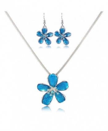 Flower Necklace Set- Filigree Enamel Flower Statement Pendant Necklace Earrings Jewelry Set - Blue - CM184WKW99E