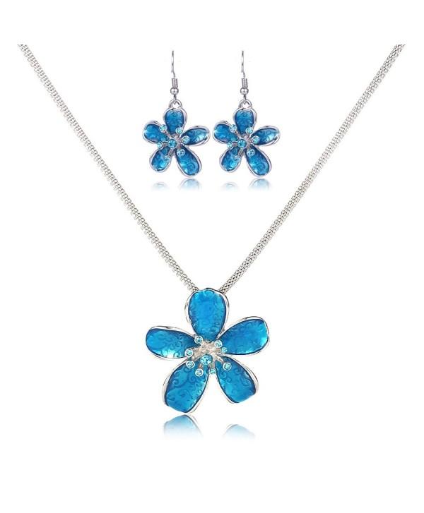 Flower Necklace Set Filigree Enamel Flower Statement Pendant