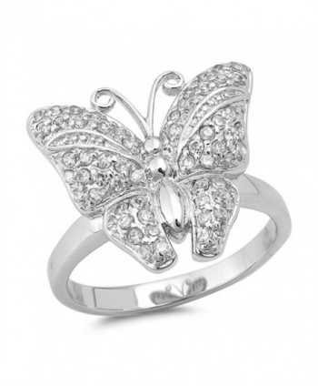 Butterfly Micro Pave White CZ Classic Ring .925 Sterling Silver Band Sizes 5-10 - CF12JBXHD7L