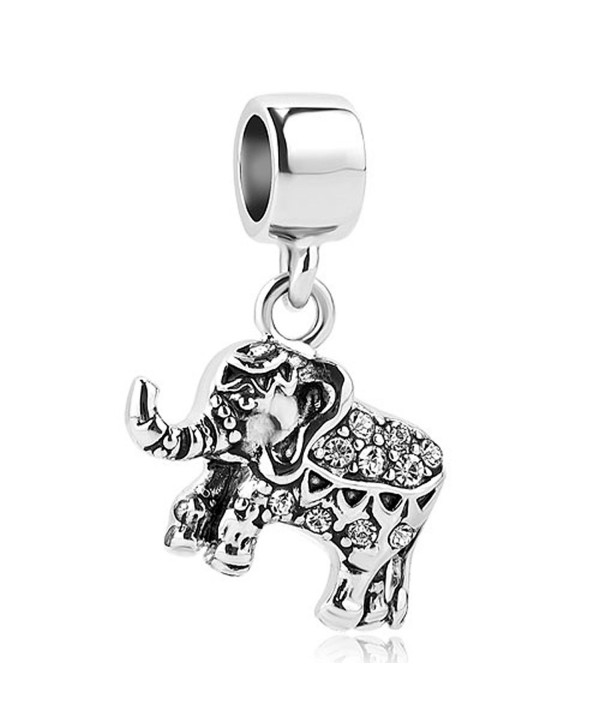 LilyJewelry Elephant Dangle Charm Animal Beads For European Bracelets - White - C4184QYC42D