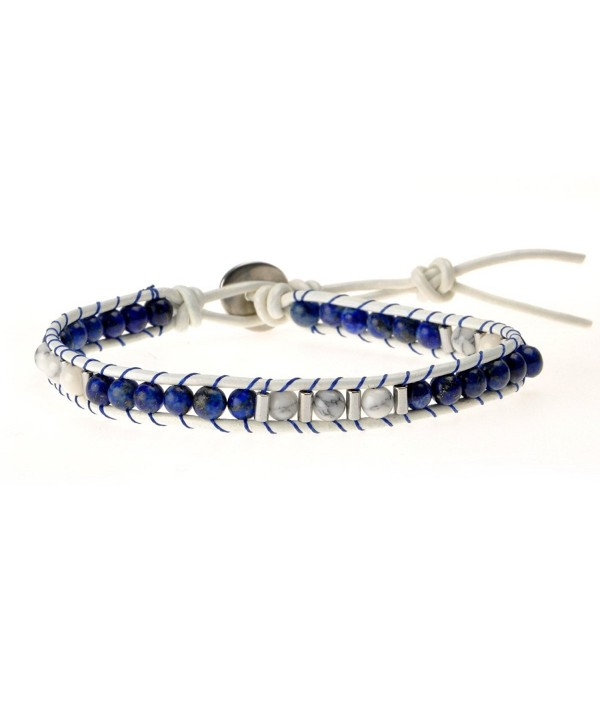 ZLYC Women Hand Woven Two Tone Stone Beaded Leather Cord Adjustable Wrap Bracelet - Blue - CT12B7EAPAH