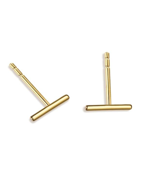 Minimalist 925 Sterling Silver Stud Earrings Gold Bar Earrings Line Earrings Simplify Stick Earrings - skinny - C3189R63WOO