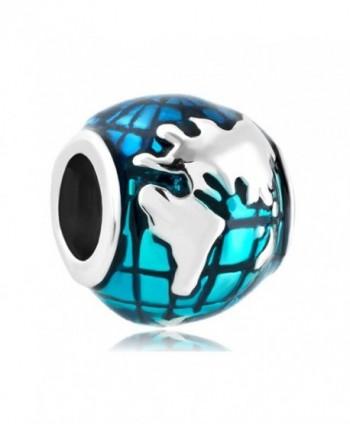 CharmSStory Ocean Blue Earth World Globe Charm Beads For Bracelets - CX127R0G26D