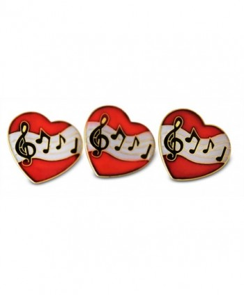 Musician Heart Treble Clef & Notes 3-Piece Lapel or Hat Pin & Tie Tack Set with Clutch Back by Novel Merk - CA12NZ2M4WB