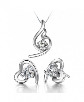 YLR White Gold Plated Love Heart Charm With CZ Fashion Jewelry Necklace Earring Women Sets - CN11VZPNLV1