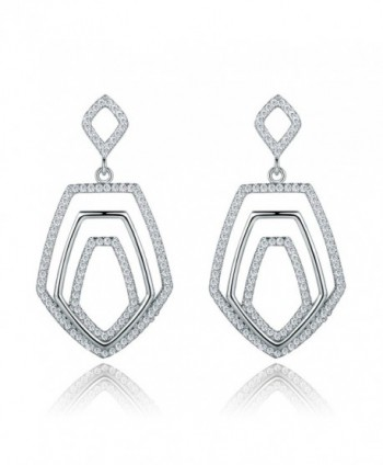 GULICX Crystal Baroque Style Art Deco Dangle Earrings Silver Tone Clear Cubic Zirconia - C512LUC5JAN