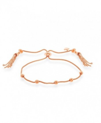 Italian Sterling Adjustable Friendship Bracelet - Rose Gold Plated - CN185WXGKYW