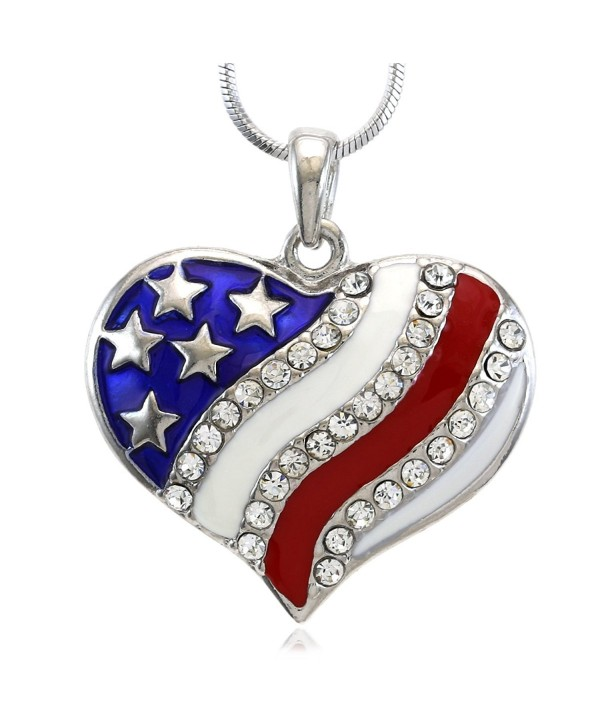 4th of July USA US Flag Heart Star Pendant Necklace Charm Women Fashion Jewelry - C1118ZDH5KT