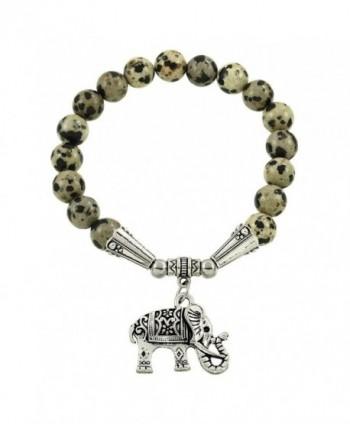 Falari Elephant Lucky Charm Natural Stone Bracelet Dalmatian Stone B2448-DM - C4124HGM95X