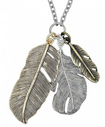 Bohemia Long Mixed Metal Feather Pendant Necklace - SPUNKYsoul Collection - CW11AI8JH9F