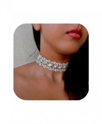 Cyntan Wide Rhinestone Choker Necklace For Women Silver Tone - Silver 1 - CX188EC4ZE7