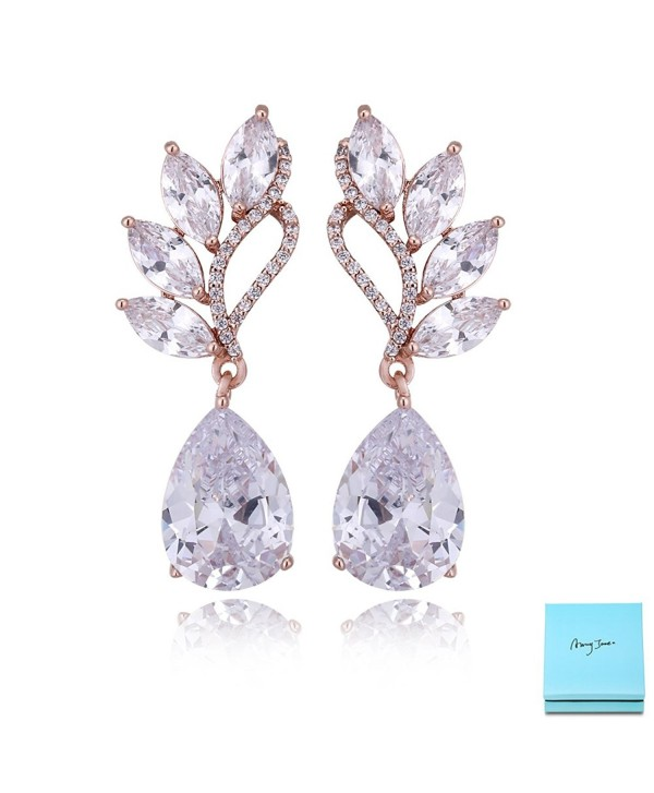 Crystal Rose Gold Dangle Earrings - 14k Rose Gold Plated - CA189XSWOQZ