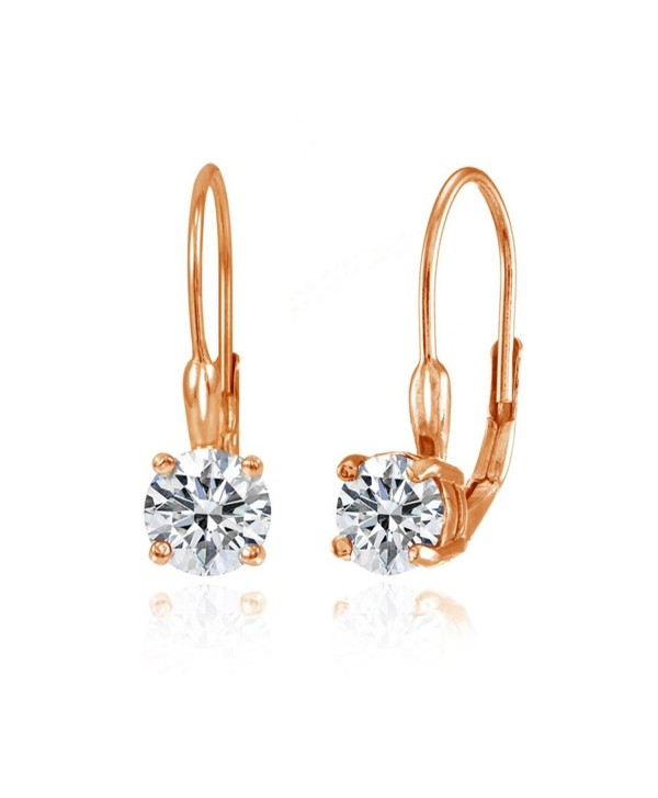 Sterling Silver Round Prong-Set Leverback Earrings Created with Swarovski Zironica - CI1869C4WW0