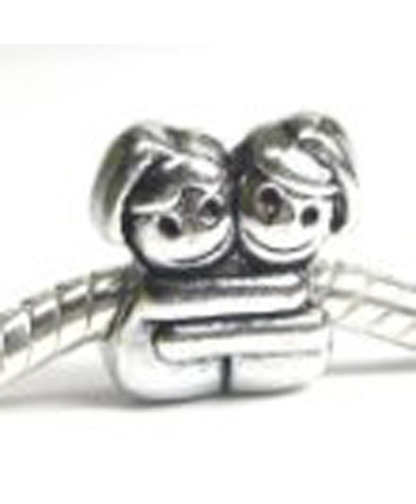 "European "" Loving Sisters/best Friends Hugging "" Charm Bead Spacer for Snake Chain Charm Bracelet - CJ11C2N5LOF"