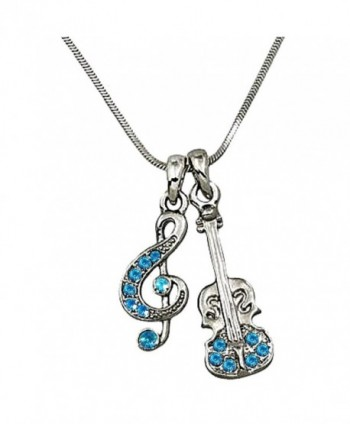 DianaL Boutique Music Treble G Clef Note and Violin Charm Pendant and Necklace Blue Crystal Fashion Jewelry - CI12FCNS6SJ