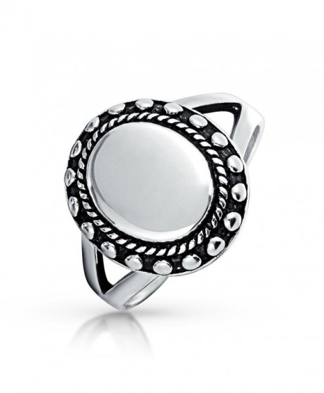 Bling Jewelry Oval Beaded Halo Double Shank Sterling Silver Signet Ring - CK11593X3S1