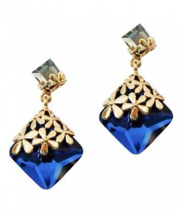 Navachi 18k Gold Plated Crystal Flower Leaves Square Zircon Drop Dangle Earrings - Blue - CF11UJXLUZJ